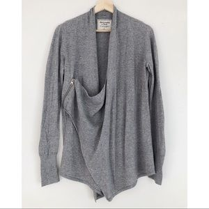ABERCROMBIE & FITCH Grey Side-Zip Cardigan Sweater